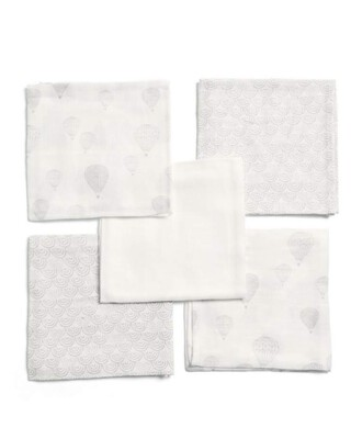 5 Pack Muslin Squares - Balloon