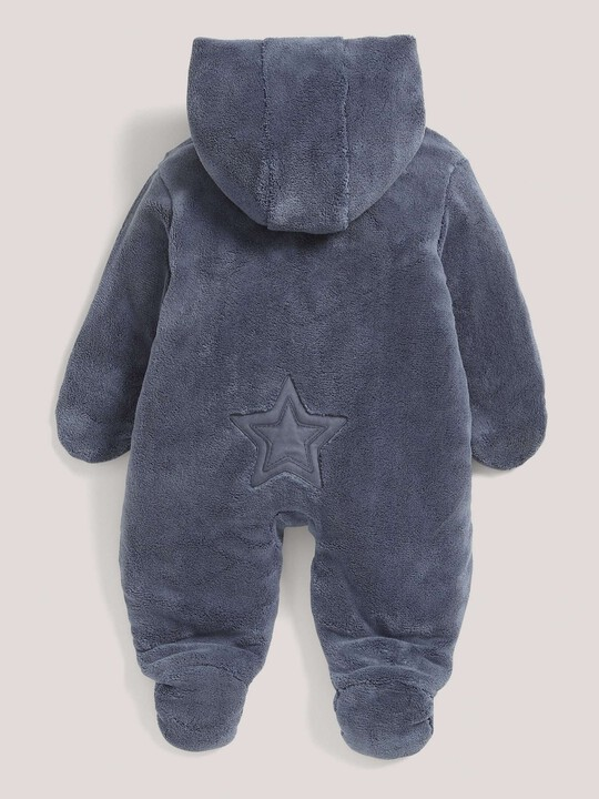 Soft Faux Fur Star Design Pramsuit Blue- New Born image number 3