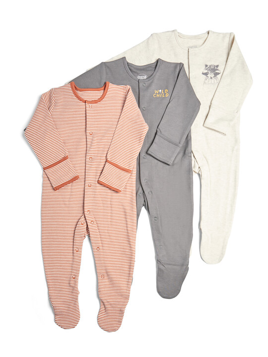 3 Pack of Wild Sleepsuits image number 1