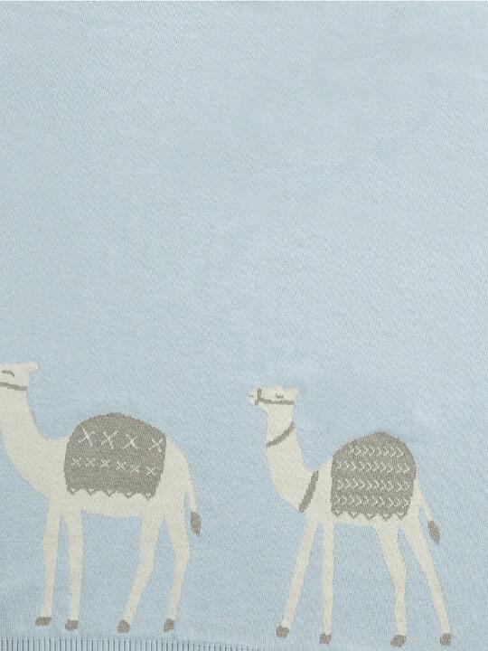 Knitted Blanket (70x90cm) - Blue Camel image number 2