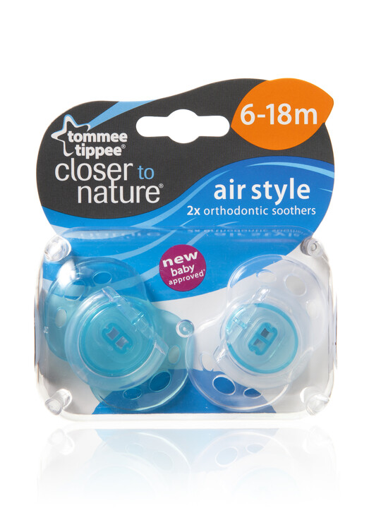Tommee Tippee Closer to Nature Air Style Soothers 6-18 months (2 Pack) - Light Blue image number 2