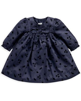 Cotton Navy Bow Dress