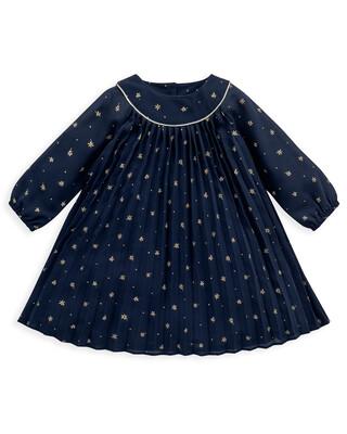 Navy Pleated Star Print Dress