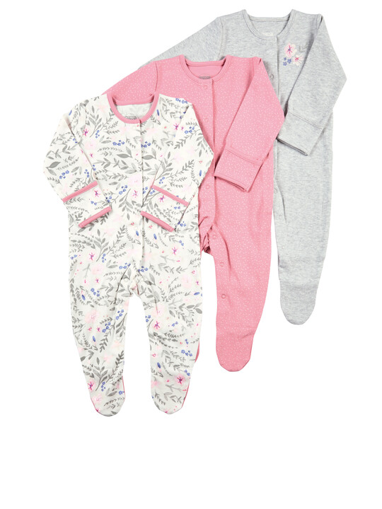 Pack of 3 Floral Sleepsuits image number 1