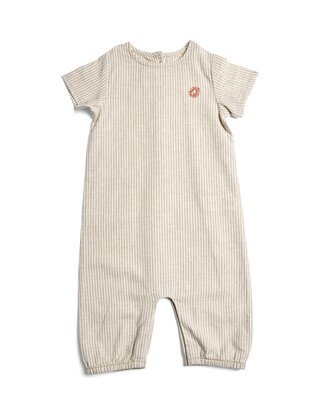 Striped Romper with Embroidery