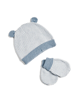 Knitted Stripe Hat and Mitts